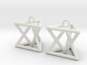 Pyramid triangle earrings type 7 in White Premium Versatile Plastic