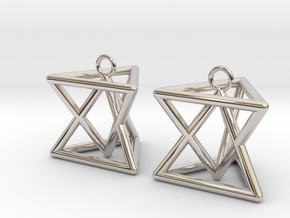 Pyramid triangle earrings type 7 in Platinum