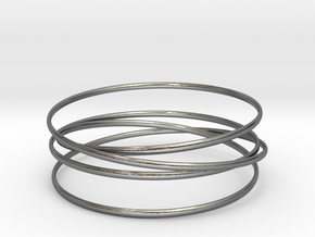 Multispire floating bracelet in Interlocking Polished Silver: Small