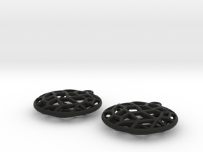 Cell Earrings - small in Black Premium Versatile Plastic