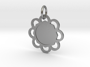 Custom Flower hexagon Pendant in Natural Silver (Interlocking Parts)