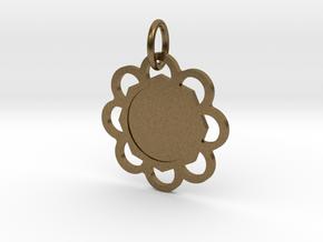 Custom Flower hexagon Pendant in Natural Bronze (Interlocking Parts)