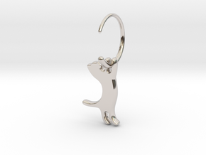 hanging cat earring small in Platinum