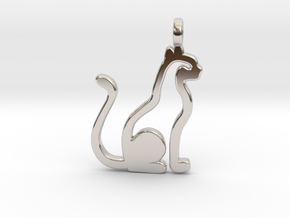 Cat pendant in Rhodium Plated Brass: Small