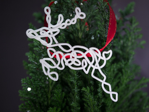 Celtic Knotted Reindeer Pendant/Ornament in White Processed Versatile Plastic