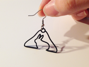 Rabbit Hanger Earring in Black Strong & Flexible