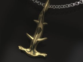 Hammerhead charm in Polished Brass