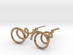 Earrings Twist 001 in Polished Brass (Interlocking Parts)