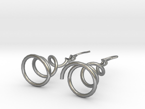 Earrings Twist 001 in Natural Silver (Interlocking Parts)