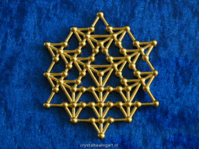 64 Tetrahedron Grid in Polished Gold Steel
