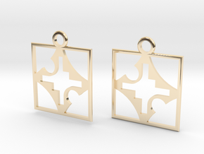 square cross hole earrings in 14k Gold Plated Brass