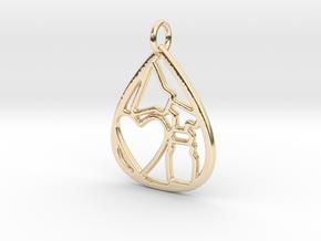 Mama's Milk Drop Pendant; Pump & Heart in 14k Gold Plated Brass