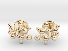 caffeine molecule cufflinks in 14K Yellow Gold