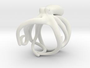 Octopus Ring 21mm in White Natural Versatile Plastic