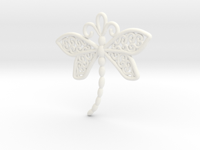 Dragonfly Earrings or pendant in White Processed Versatile Plastic