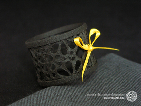 A small napkin ring with Mosaic-3a in Black Natural Versatile Plastic