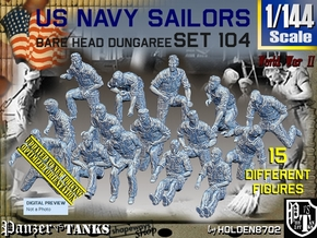 1/144 USN Dungaree Barehead Set104 in Smooth Fine Detail Plastic