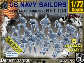 1/72 USN Dungaree Barehead Set104 in Smooth Fine Detail Plastic