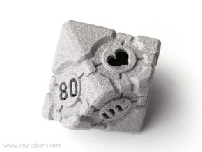 Companion Cube 10D10 (decader) - Portal Dice in Polished Metallic Plastic: Small