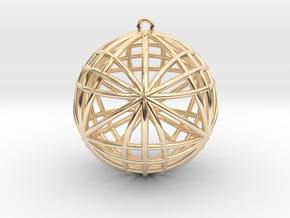 """Awesomeness Sphere Pendant 2""""  in 14k Gold Plated Brass"""