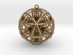 """Star Tetrasphere with Nested Octuple Dorje 2"""" Pend in Polished Gold Steel"""