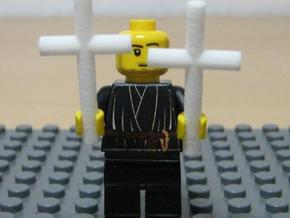 2 Crosses for Minifigs in White Strong & Flexible Polished