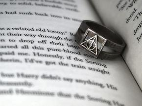 Deathly Hallows Ring Size 10 in Polished Bronzed Silver Steel