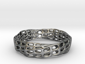 Mobius Band Voronoi Bracelet (003) in Fine Detail Polished Silver