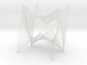 String Art Sculpture - Simple Straight Lines Curve in White Natural Versatile Plastic
