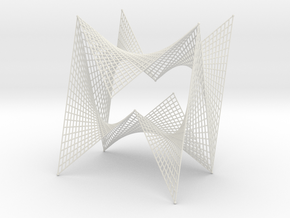 String Art Sculpture - Double Straight Lines Curve in White Natural Versatile Plastic