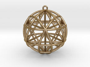 """Star Tetrasphere w/nested Star Tetrahedron 1.7"""" in Polished Gold Steel"""
