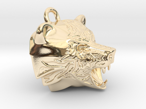 Fire Bear Pendant in 14k Gold Plated Brass
