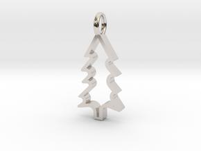 Christmas Tree - Pendant in Rhodium Plated Brass