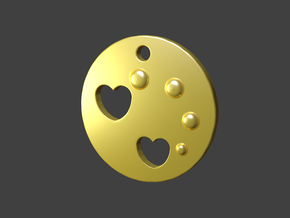 Love Disk V2 20mm in Polished Gold Steel
