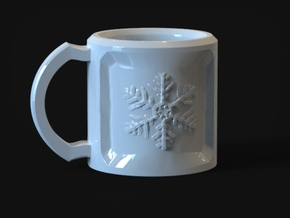 SnowFlake Mug in Gloss White Porcelain