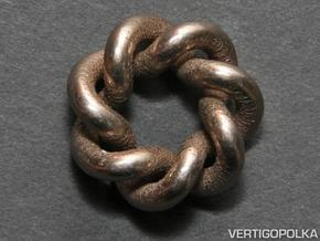 Septafoil Knot 1inch in Polished Bronzed Silver Steel