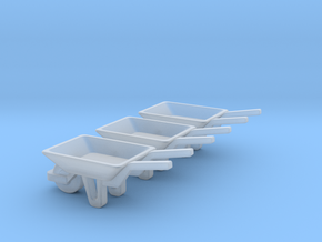 WheelBarrow HO Scale 3 Pack in Smooth Fine Detail Plastic