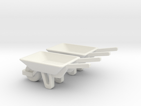 WheelBarrow 2 Pack O Scale in White Natural Versatile Plastic