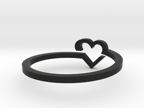 Heart Ring - Size 7 in Black Natural Versatile Plastic
