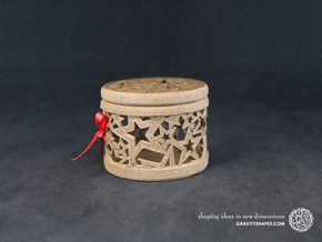 Gift Box No. 1 with Stars (filigree, short) in Black Natural Versatile Plastic
