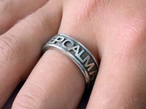 "Size 7 Steel Ring ""KEEP CALM & CARRY ON"" in Polished Bronzed Silver Steel"