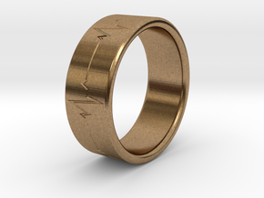 Heartbeat ring in Natural Brass