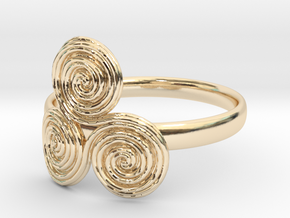 Bronze age triple spiral cult ring in 14k Gold Plated Brass