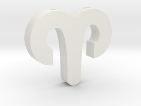 Aries Symbol Pendant in White Natural Versatile Plastic