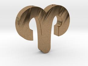 Aries Symbol Pendant in Natural Brass