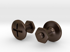 Screw cuff links in Polished Bronze Steel