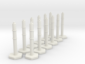 1:50 scale Traffic Bollard X 12 in White Natural Versatile Plastic