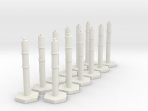1:50 scale Traffic Bollard X 12 in White Natural Versatile Plastic