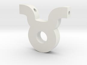 Taurus Symbol Pendant in White Natural Versatile Plastic