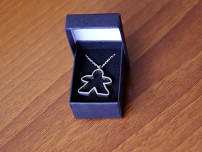 Big empty meeple [pendant] in Rhodium Plated Brass